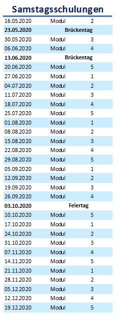 Samstagsschulungen Module 1-5 Köln Cityfahrschule BKrFQG