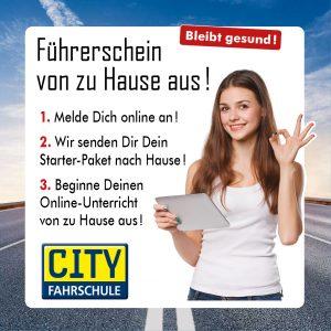 Banner Führerschein von zu Hause aus Cityfahrschule